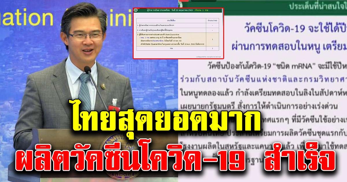 นายแพทย์ทวีศิลป์ แจ้งข่าวดี คนไทยสุดยอด ผลิตวัคซีนโควิด-19 สำเร็จ