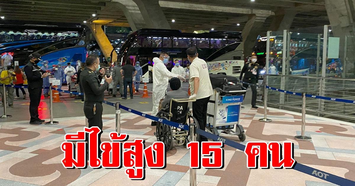 506 คนไทยกลับจากต่างประเทศ ถึงสุวรรณภูมิแล้ว พบมีไข้สูง 15 ราย